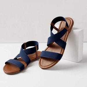 Shoes - Navy & Brown Elastic Strap Sandals